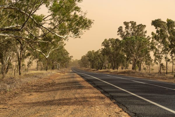 driving through dust storm